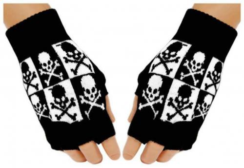 Fingerlose Handschuhe Schwarz Weiß Totenköpfe für Teens