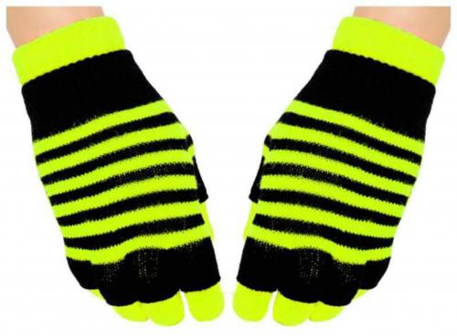 2 in 1 Handschuhe Gelbe Streifen