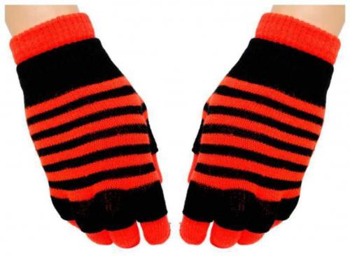 2 in 1 Handschuhe Orangene Streifen für Teens