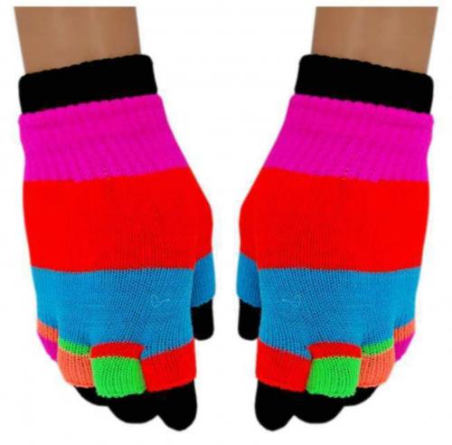 Neon Regenbogen 2 in 1 Handschuhe