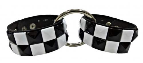 Schwarz Weiße Pyramidennieten Handfessel Set
