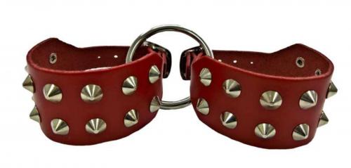 Spitznieten Handfessel Set Rot