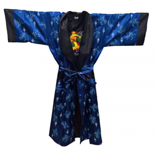 Blauer Yukata Morgenmantel Lampions