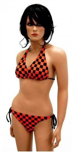 Orangener Neckholder Bikini Schachmuster