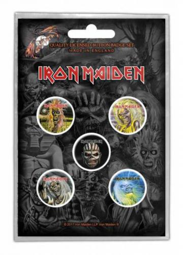Button Set - Iron Maiden The Faces Of Eddie