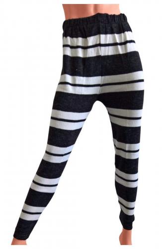Damen Strickhose Schwarz Weiß