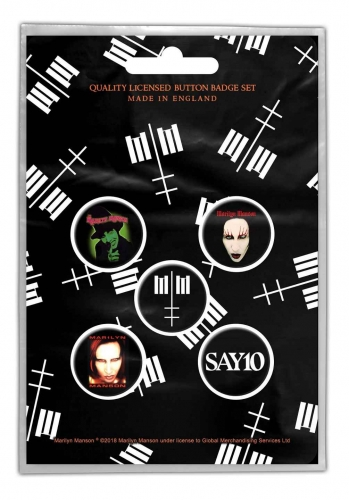 Button Set - Marilyn Manson - Cross Logo
