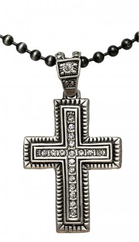 Kugelkette mit Anhänger Kreuz mit Steinchen