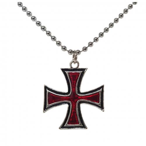 Anhänger rotes eisernes Kreuz mit Kette