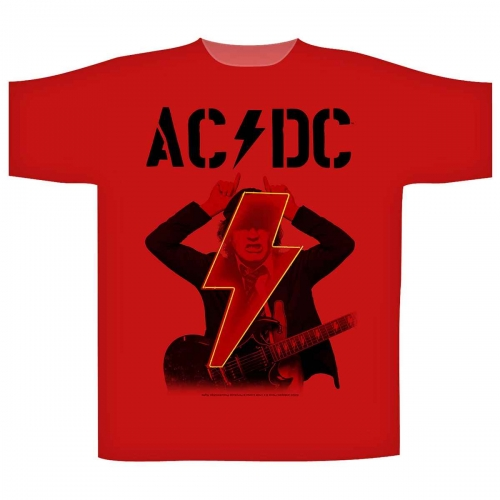 AC/DC T Shirt PWR UP Red Angus