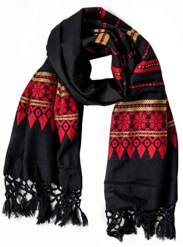 Schwarzer Schal mit edler Stickerei