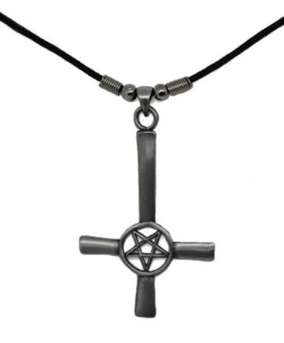 Umgedrehtes Kreuz mit Pentagramm Anhänger  Halskette