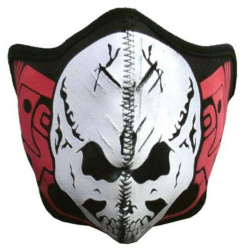 Biker Maske White Skull