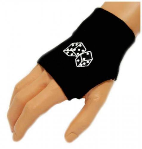 Schwarze Handstulpen Skull Web   006