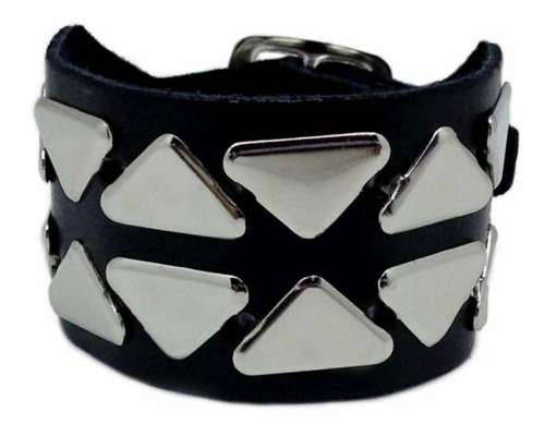 Punk Armband 2 Reihen Dreieck Nieten