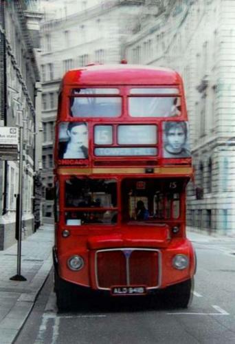 3D Wandbild Doppeldeckerbus