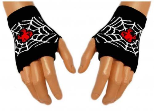 Schwarze Handstulpen Red Spider Web | 004