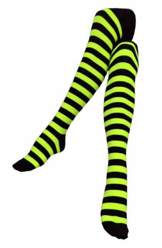 492b8caa792 Shop for Over Knee Socks Striped In Neon Yellow   Black
