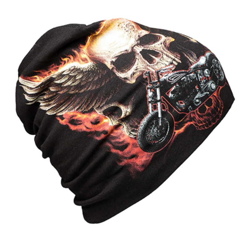 Beanie Hat with Bike and Skulls - get the look 8a11152f822
