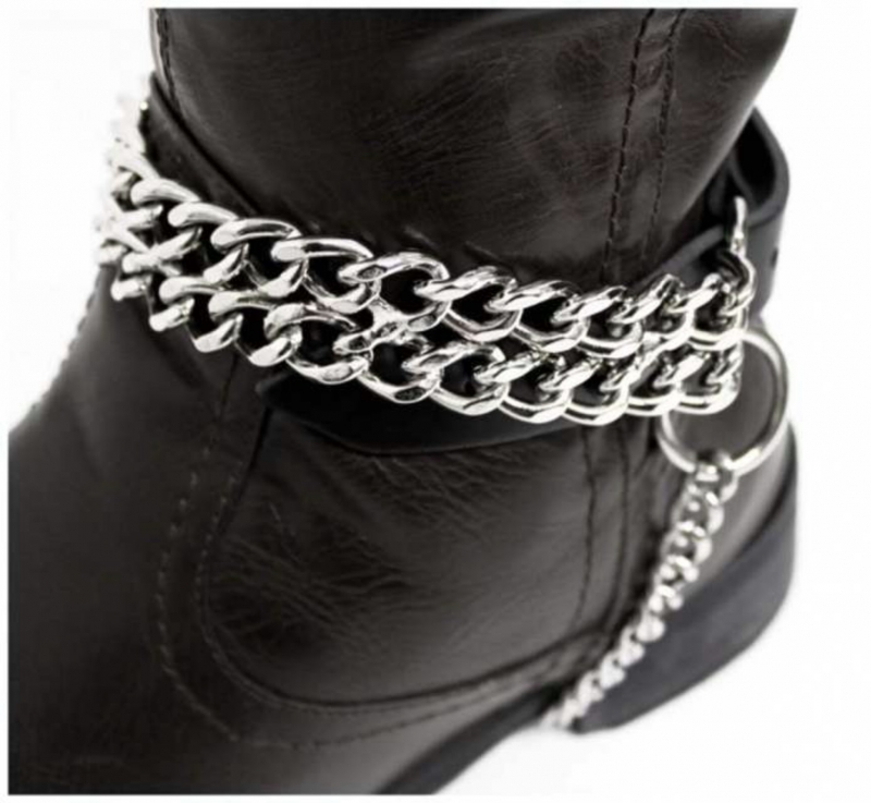Black boot straps with 2 row chain
