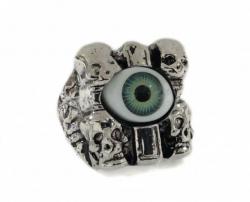 Totenköpfe Grünes Auge Ring