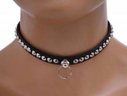 Gothic Halsband Mini Spitznieten & Ring | 330