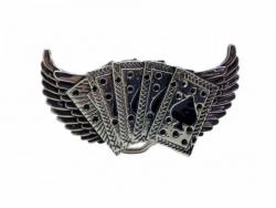 Pik As mit Flügel Gürtelschnalle