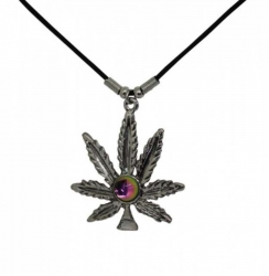 Halskette Hanfblatt mit farbigem Stein Anhänger