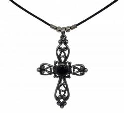 Gothic Anhänger Kreuz mit Herzen Halskette