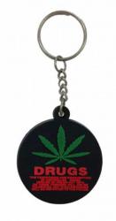 Gummi Schlüsselanhänger Cannabis Drugs Schwarz