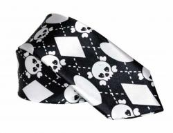 Schwarz Weiße Gothic Krawatte