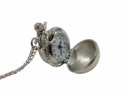 Silberfarbene Steampunk Herren Taschenuhr