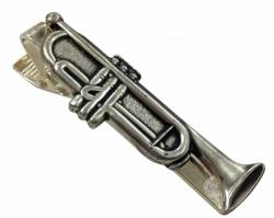 Silberfarbene Krawattenklammer Trompete