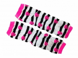 Leg Warmers - Striped with pink Skulls