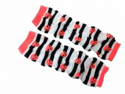 Leg Warmers - Striped with orange Skulls