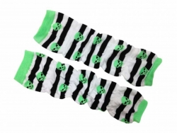 Leg Warmers - Striped with green Skulls