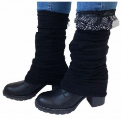 Leg warmers - Black with a bow