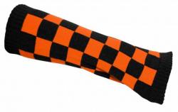Schwarz Orange karierte Armstulpen