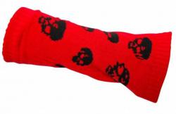 Armstulpen Rot mit Totenköpfen