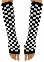 Armstulpen mit schwarz weißem Schachbrettmuster