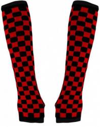 Armstulpen mit schwarz rotem Schachbrettmuster
