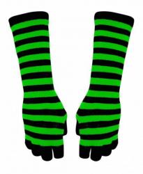 Gestreifte Armstulpen Handschuhe - Grün Gestreift