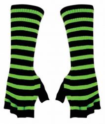 Armstulpen Handschuhe - Neon Grün Gestreift