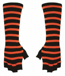 Fingerlose Armstulpen - Orange Gestreift