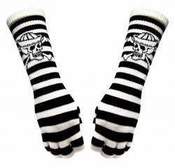 Fingerlose Armstulpen - Totenkopf auf Schwarz Weiße Streifen