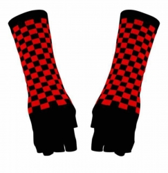 Fingerlose Armstulpen Schwarz Rot Kariert
