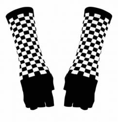 Fingerlose Armstulpen Schwarz Weiß Kariert