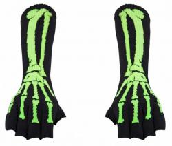 Armstulpen Handschuhe - Grüne Skelett Hand