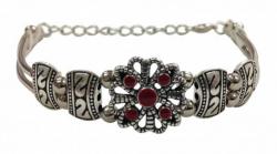 Boho Style Armband Silber Rot