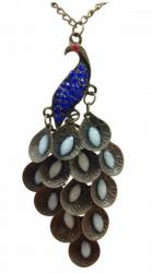 Halskette mit Pfau Anhänger im Boho Stil Blau